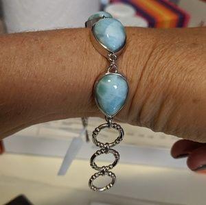 Gem Insider Jewelry - Larimar & Sterling silver bracelet